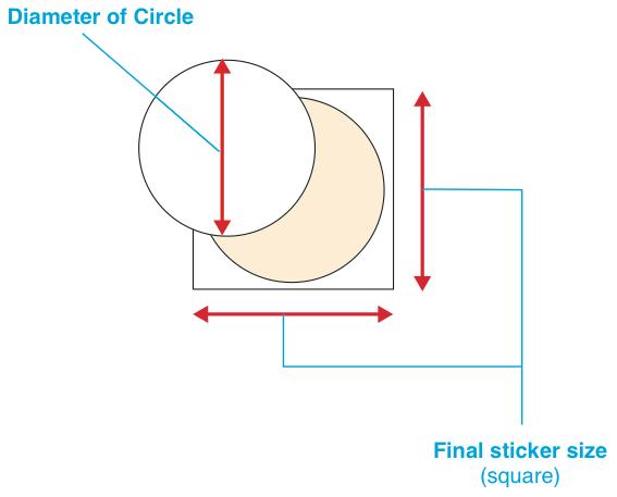 Round Shape Stickers - Diameter Circle